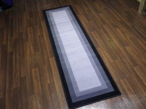 Modern Approx 7x2ft 60x220cm Woven Backed Black/Grey Sale Quality New Rumnners